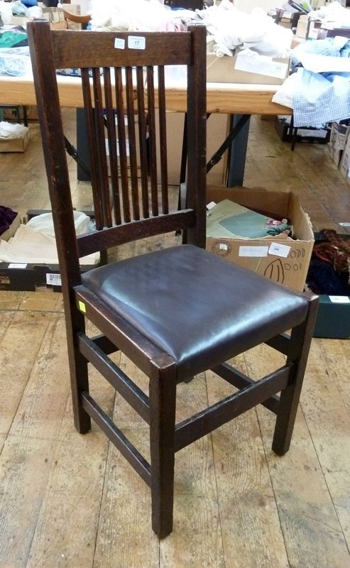 Gustav Stickley oak chair, slatback and leather seat,