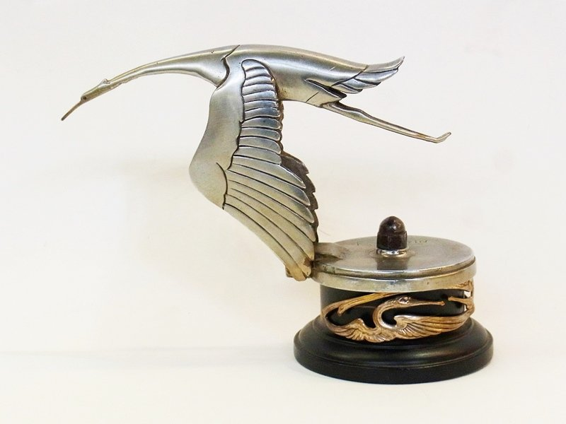 Hispano Suiza stork car mascot by Bazin, signed F.
