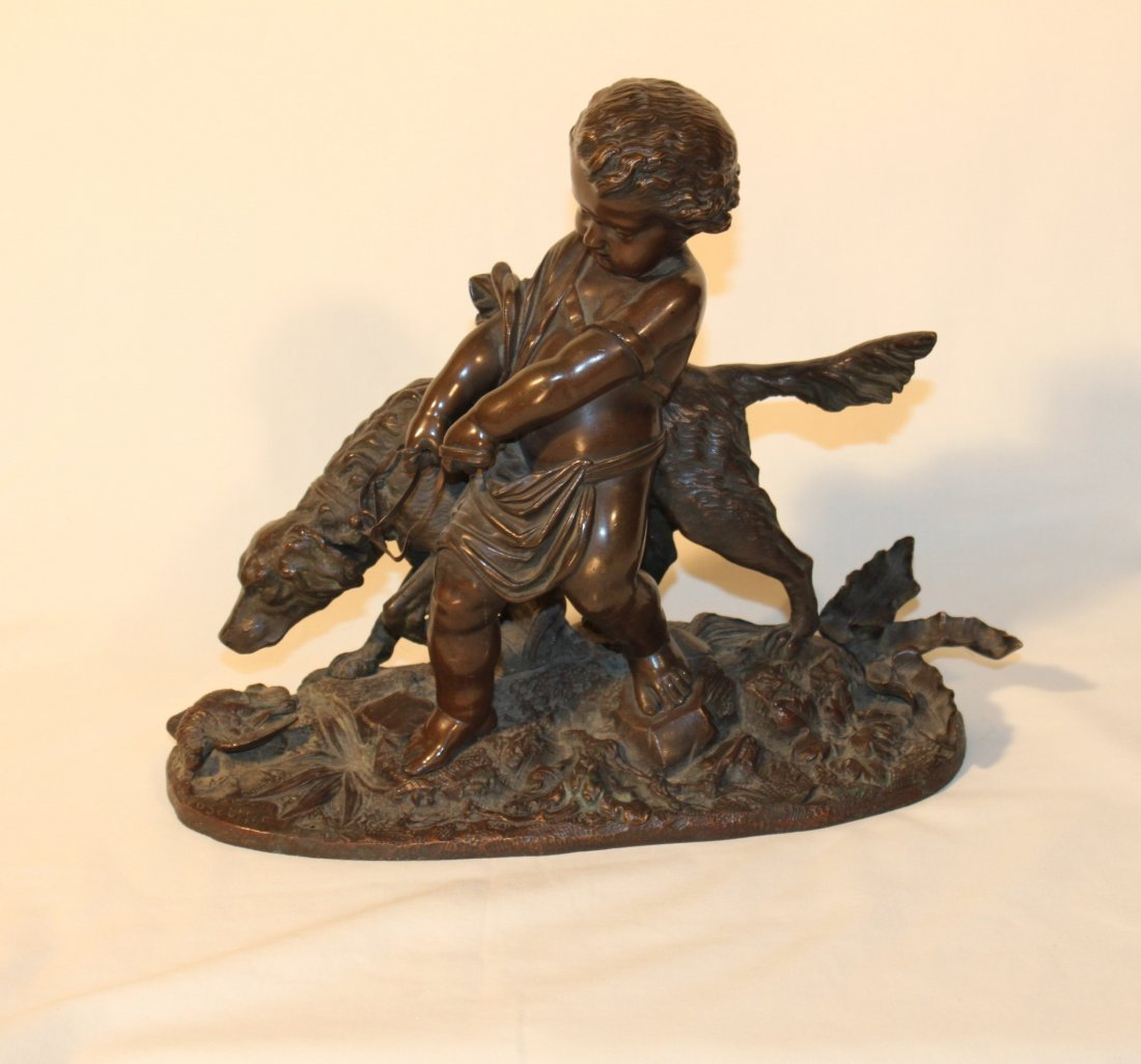 19th Century French Bronze Young Boy with Dog by