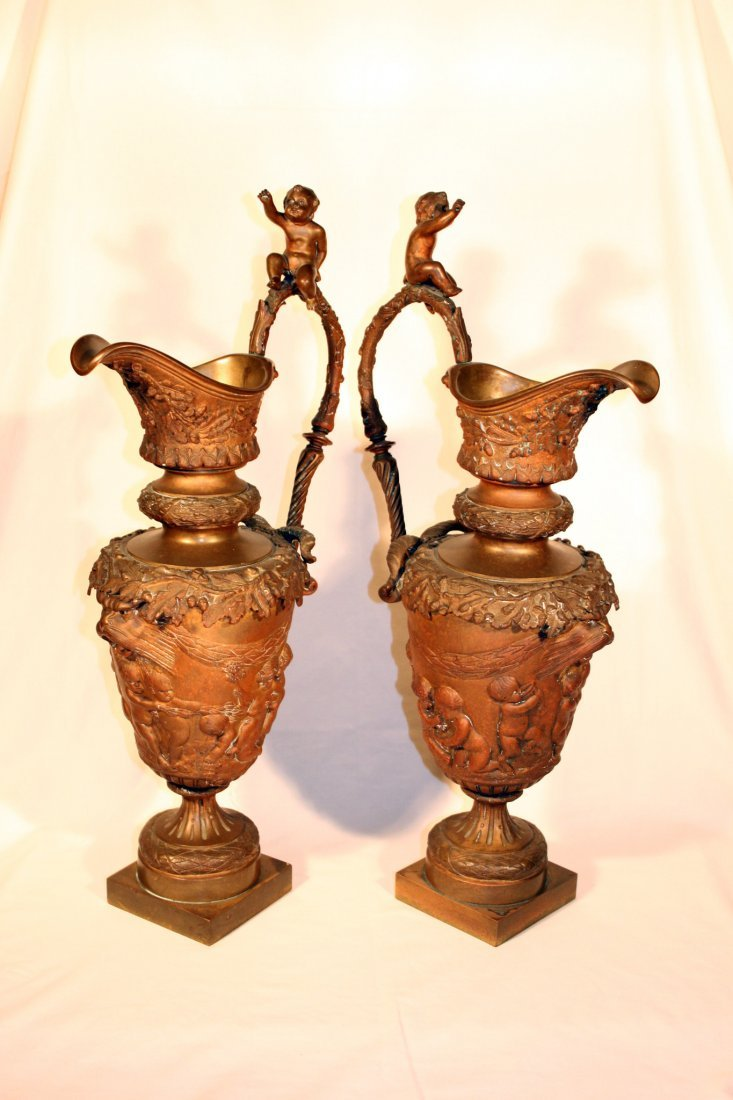 19th Century Neo Classical Bronze Vases/Pitchers