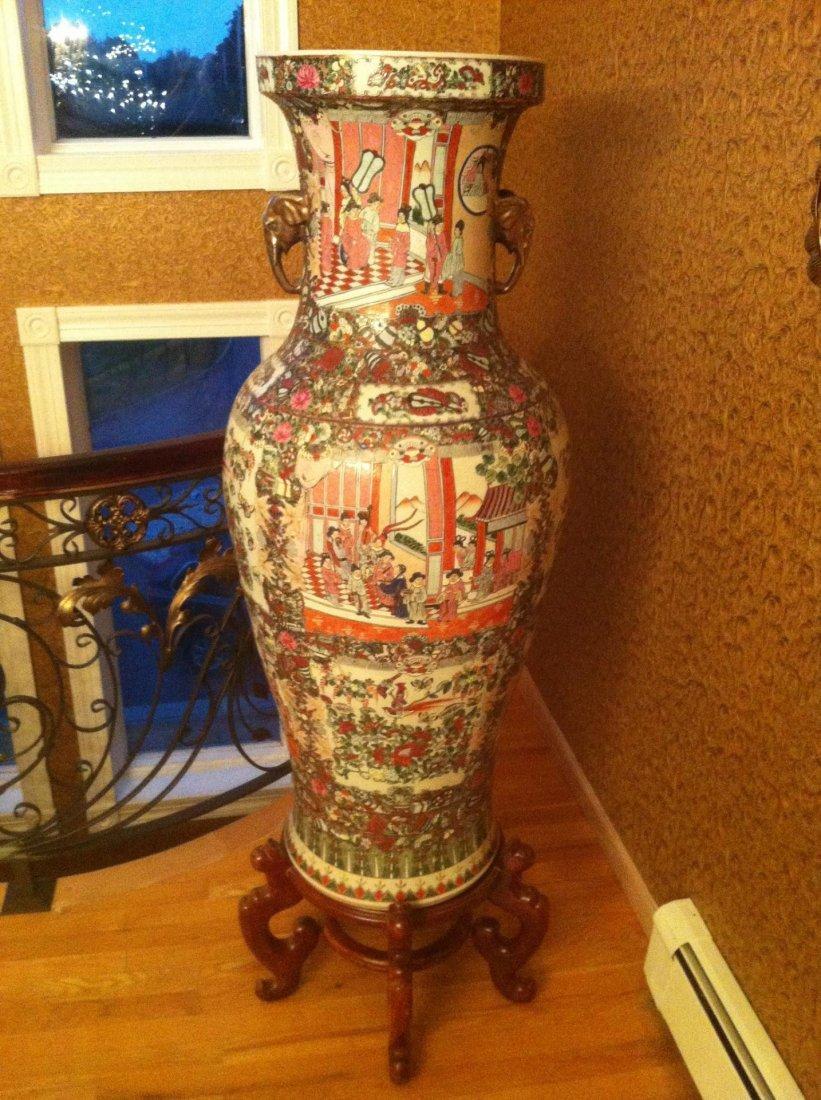 Antique Asian Porcelain Vase on Wood Stand