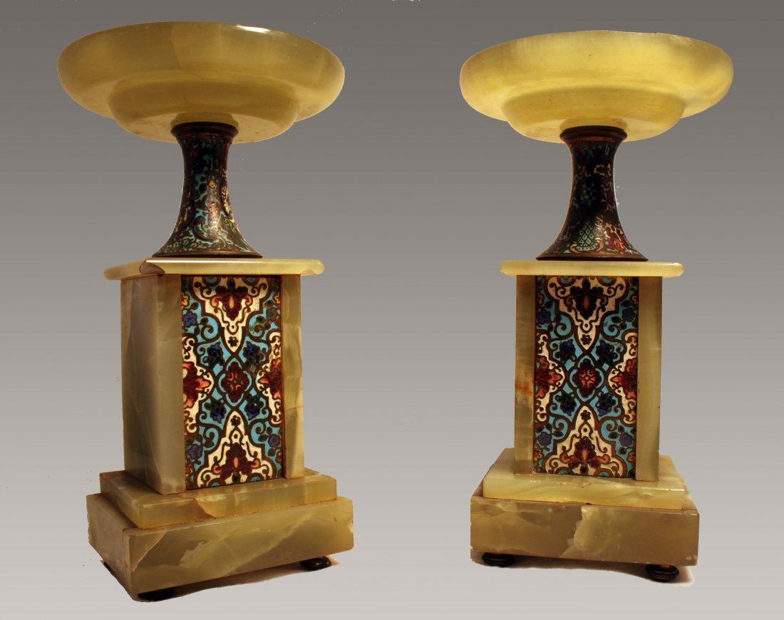 Pair of Green Onyx Mini Pedestals