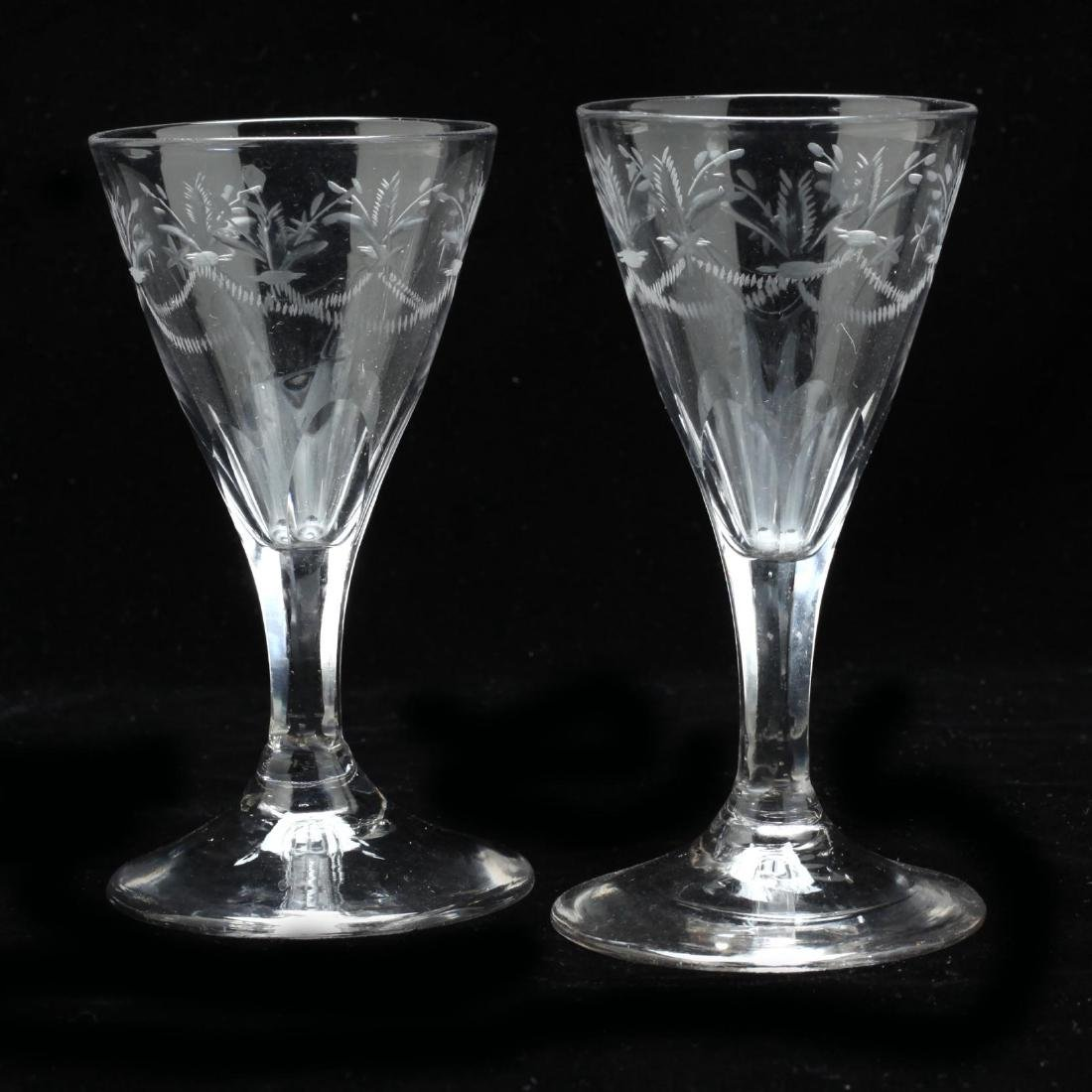 A Pair of Georgian Engraved Port Glasses