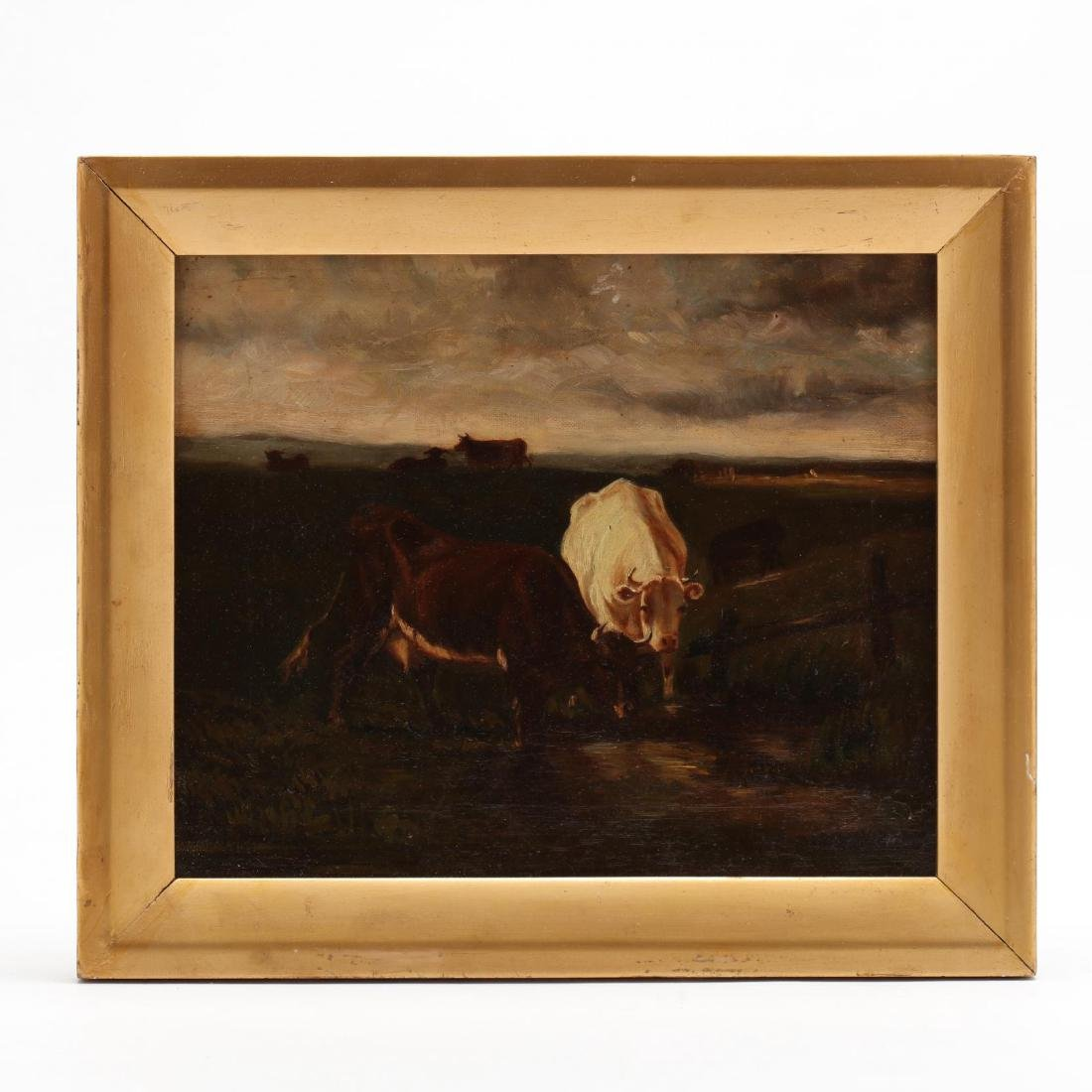 Antique Painting of Cows Watering