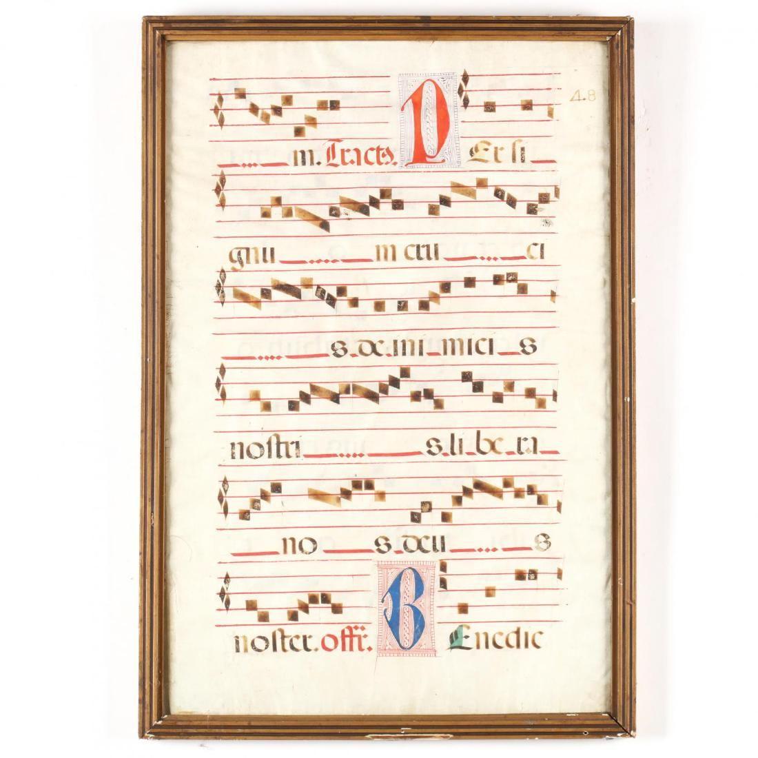 Antiphonal Manuscript Leaf on Vellum, 16th Century