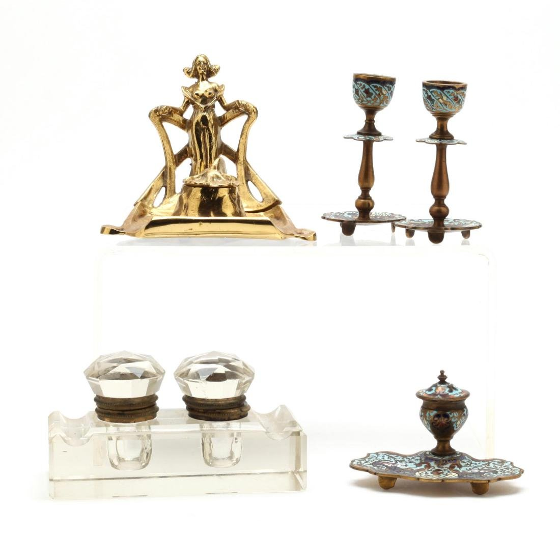 Antique Inkwell Grouping