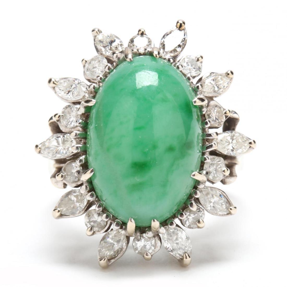 18KT White Gold, Jadeite, and Diamond Ring