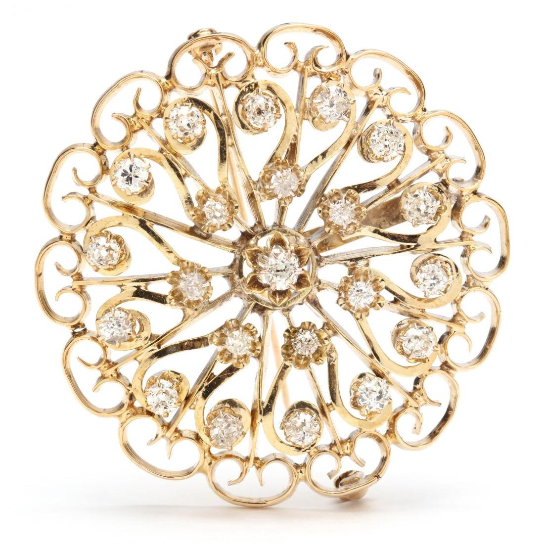 14KT Gold and Diamond Brooch / Pendant