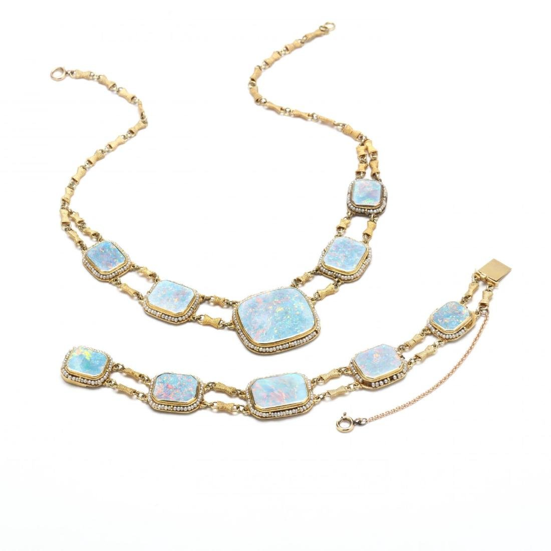 14KT Opal and Seed Pearl Demi Parure