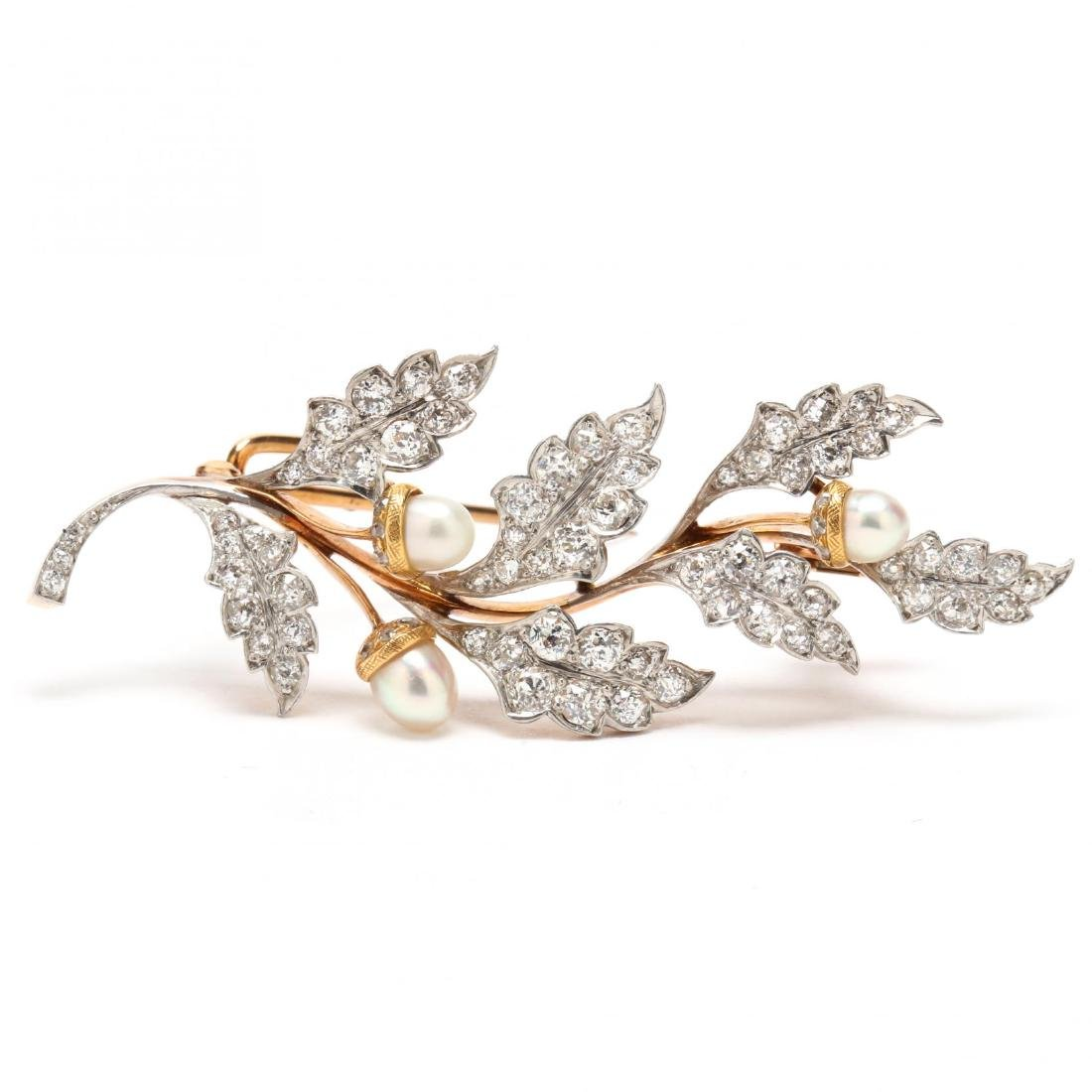 Antique Platinum Topped Gold, Diamond and Pearl Brooch,