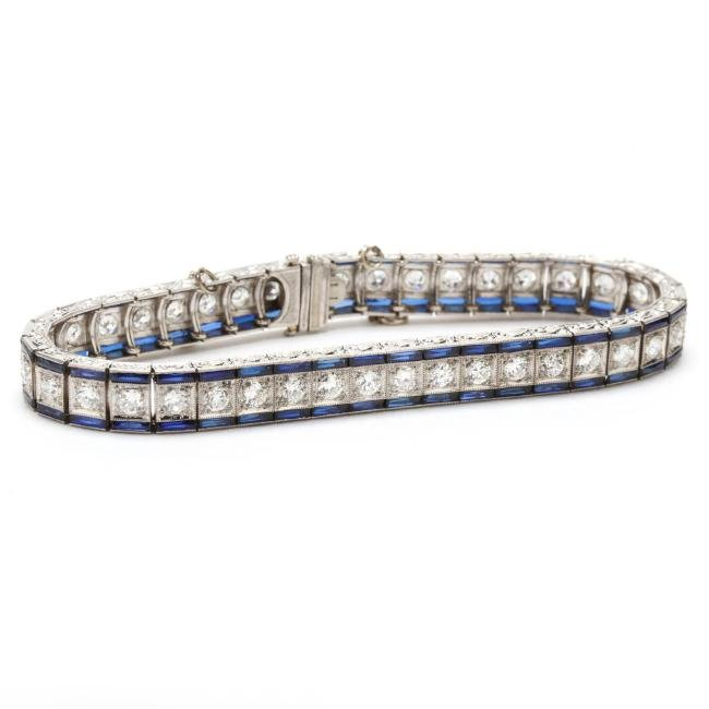 Art Deco Platinum, Diamond, and Synthetic Sapphire
