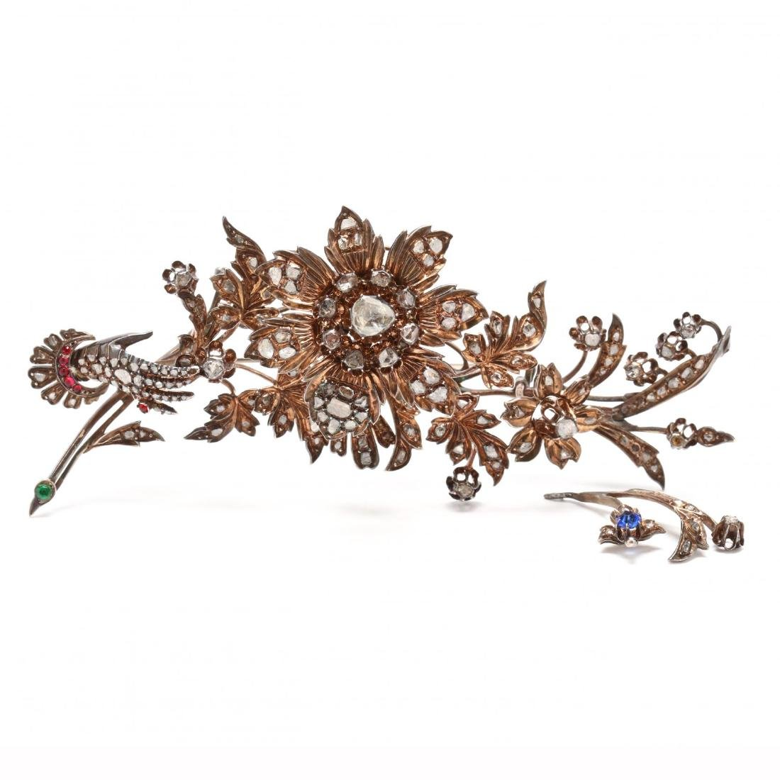 Antique Silver-Gilt and Diamond En Tremblant Brooch