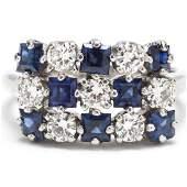 Vintage Platinum Diamond and Sapphire Ring