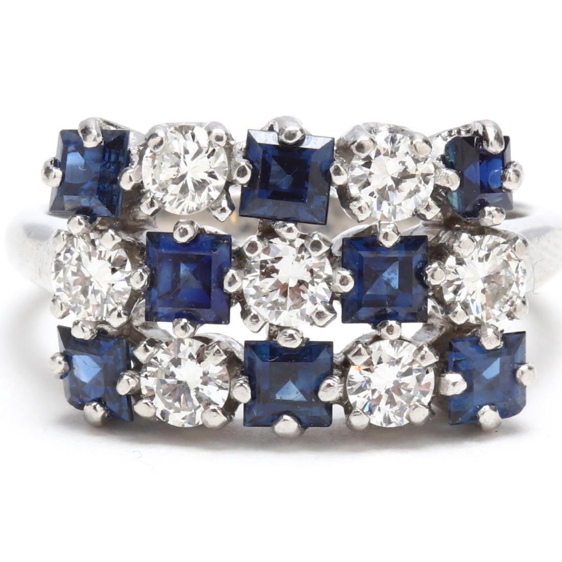 Vintage Platinum, Diamond, and Sapphire Ring