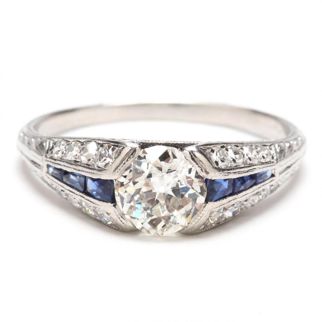 Art Deco Platinum, Diamond, and Sapphire Ring