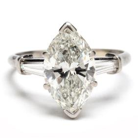 Marquise Cut Diamond with Platinum and Diamond Ring