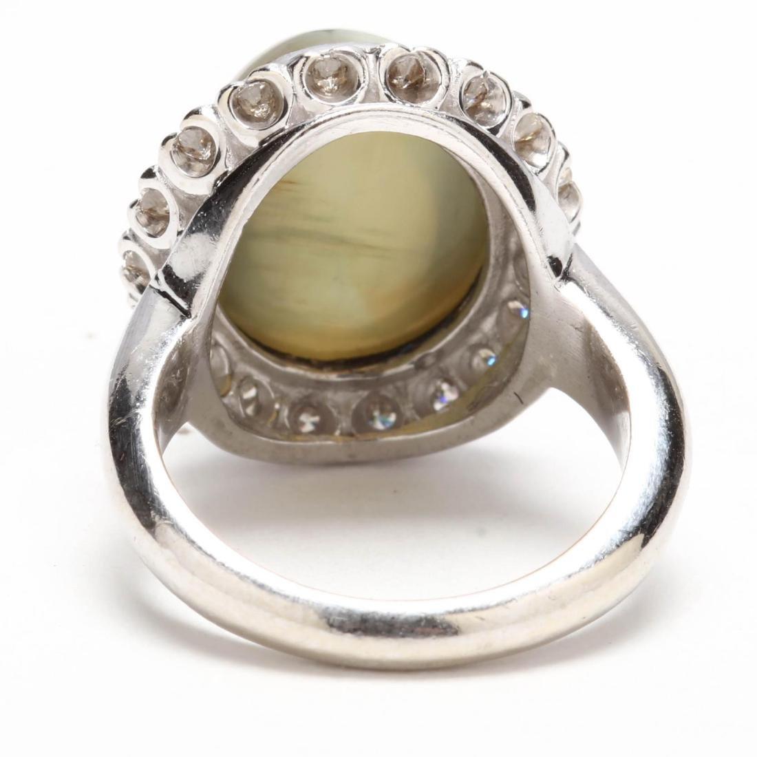 14KT White Gold, Cat's Eye Chrysoberyl, and Diamond - 4