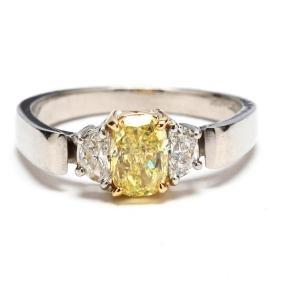 Platinum, Fancy Yellow Diamond, and Diamond Ring