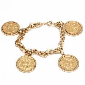 Vintage 18KT Italian Gold Bracelet Suspending Four