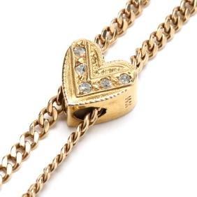 Vintage 14KT Watch Chain with Diamond Set Slide