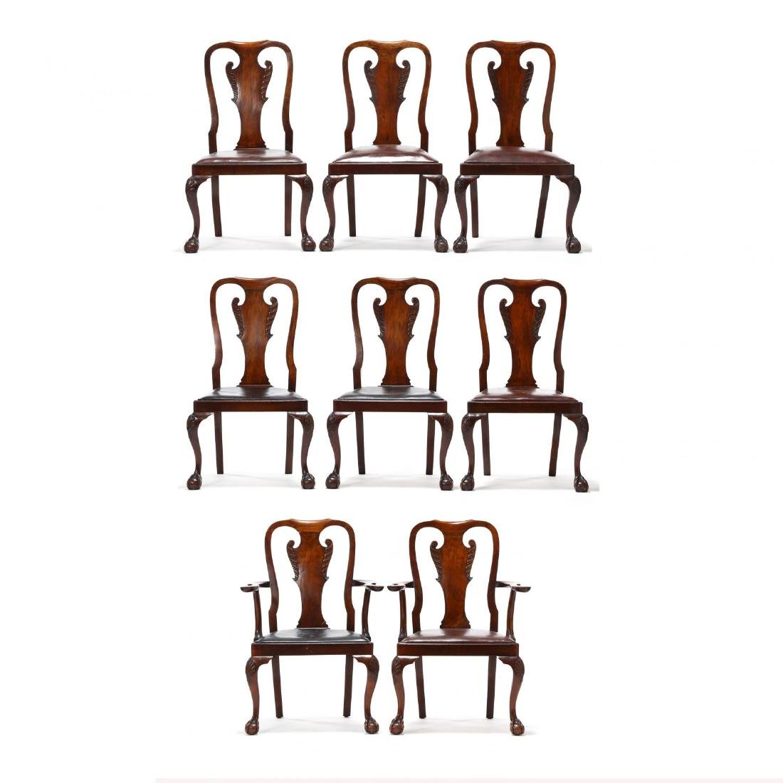 Set of Eight Chippendale Style Carved Dining Chairs
