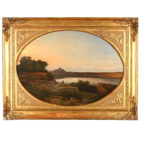 Consalvo Carelli (Italian, 1818-1900),  View of Castel