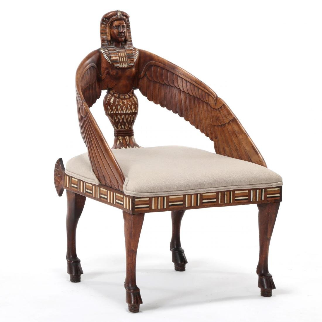 Egyptian Revival Carved and Inlaid Chair