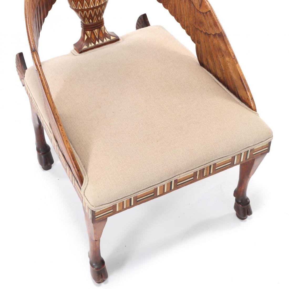 Egyptian Revival Carved and Inlaid Chair - 2