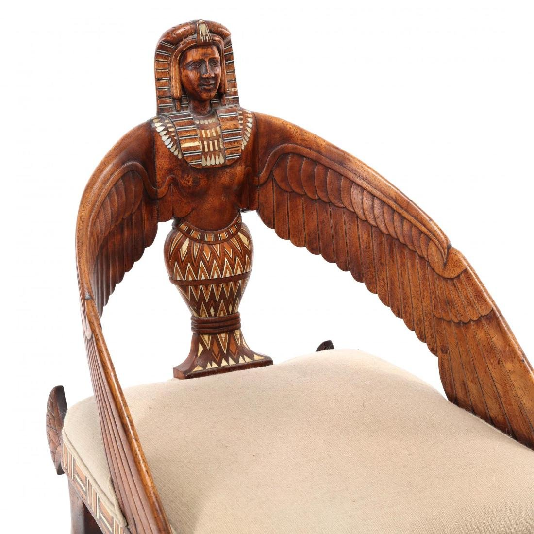 Egyptian Revival Carved and Inlaid Chair - 3