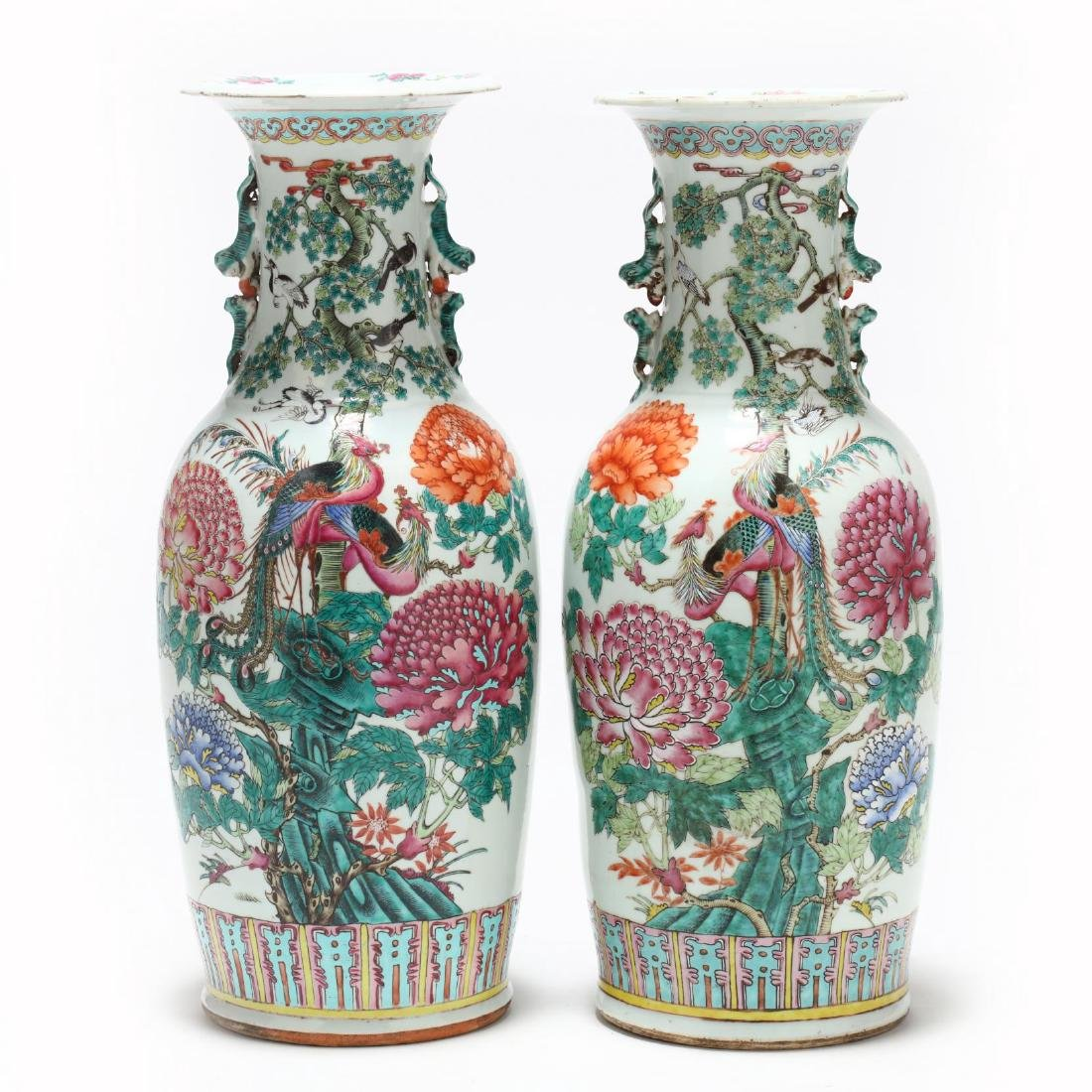 A Pair of Large Chinese Export Famille Rose Vases