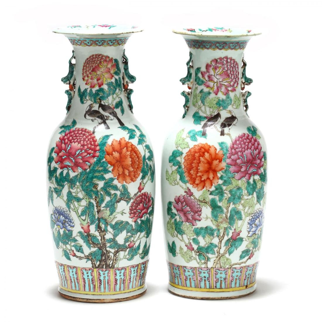 A Pair of Large Chinese Export Famille Rose Vases - 2