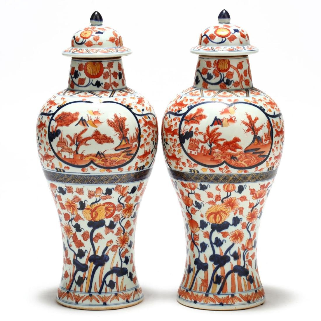 A Pair of Japanese Imari Covered Jars