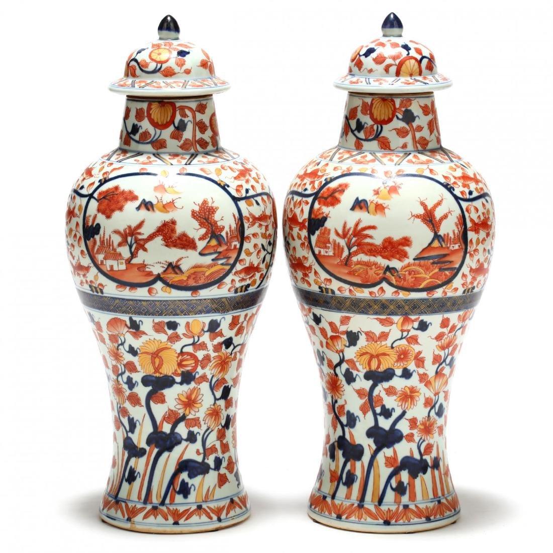A Pair of Japanese Imari Covered Jars - 2