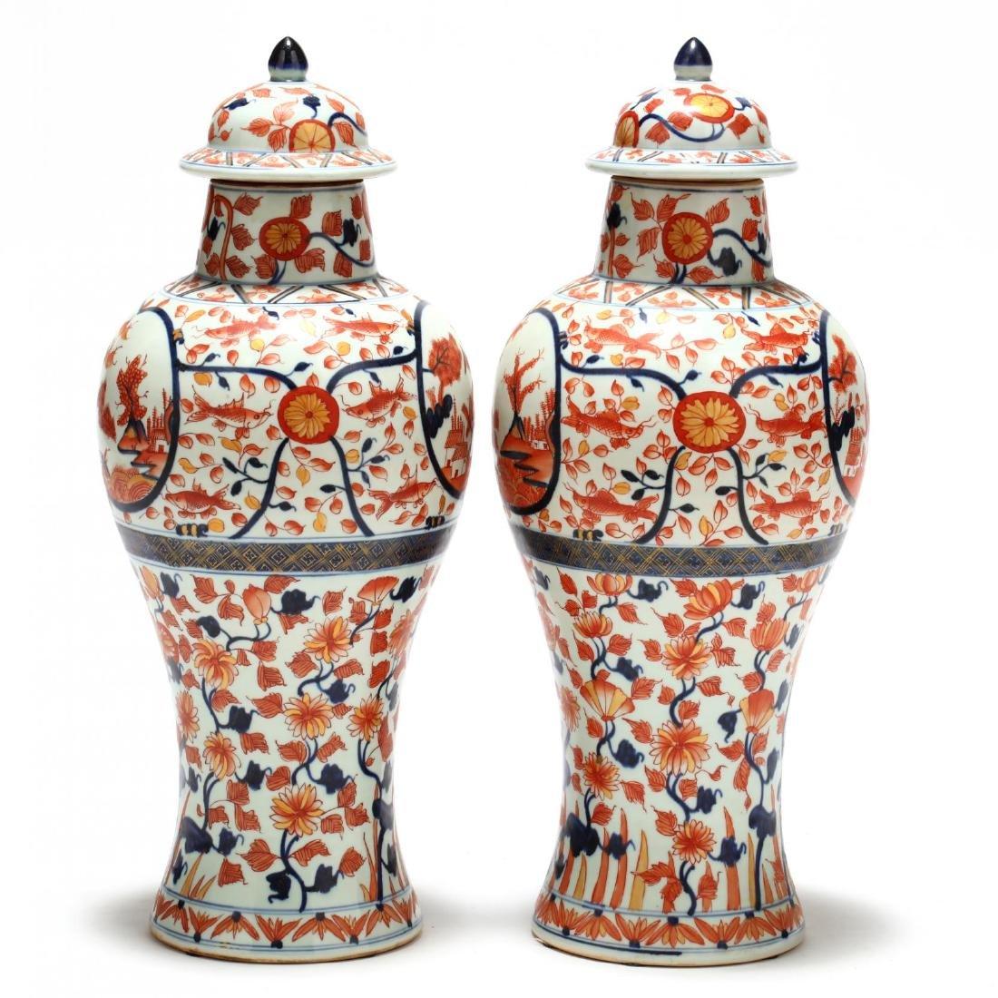 A Pair of Japanese Imari Covered Jars - 3