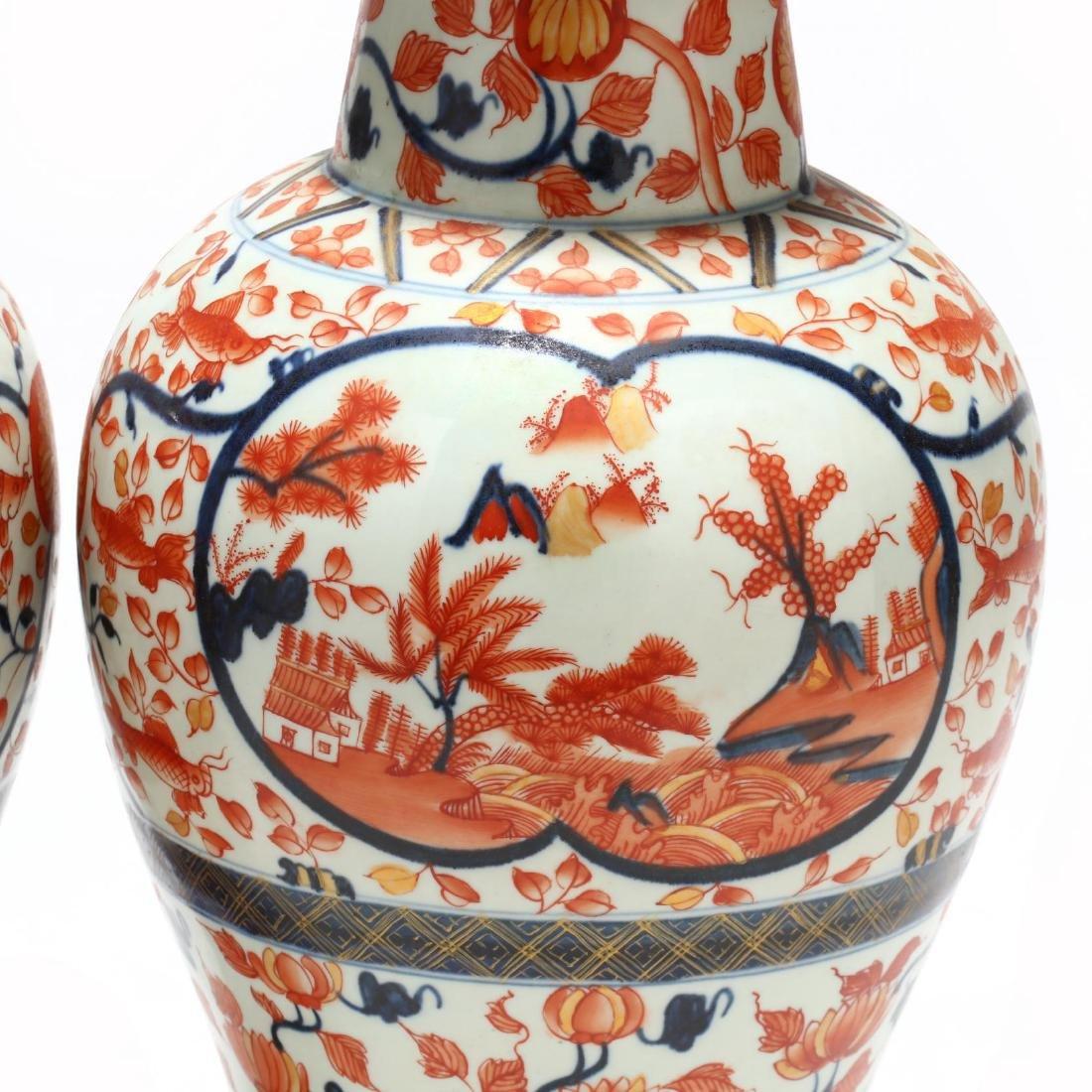 A Pair of Japanese Imari Covered Jars - 5