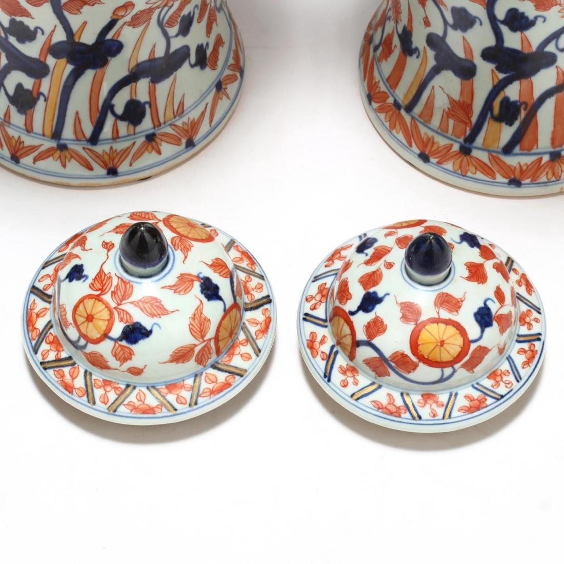 A Pair of Japanese Imari Covered Jars - 8