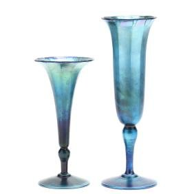 L.C. Tiffany, Two Favrile Trumpet Vases