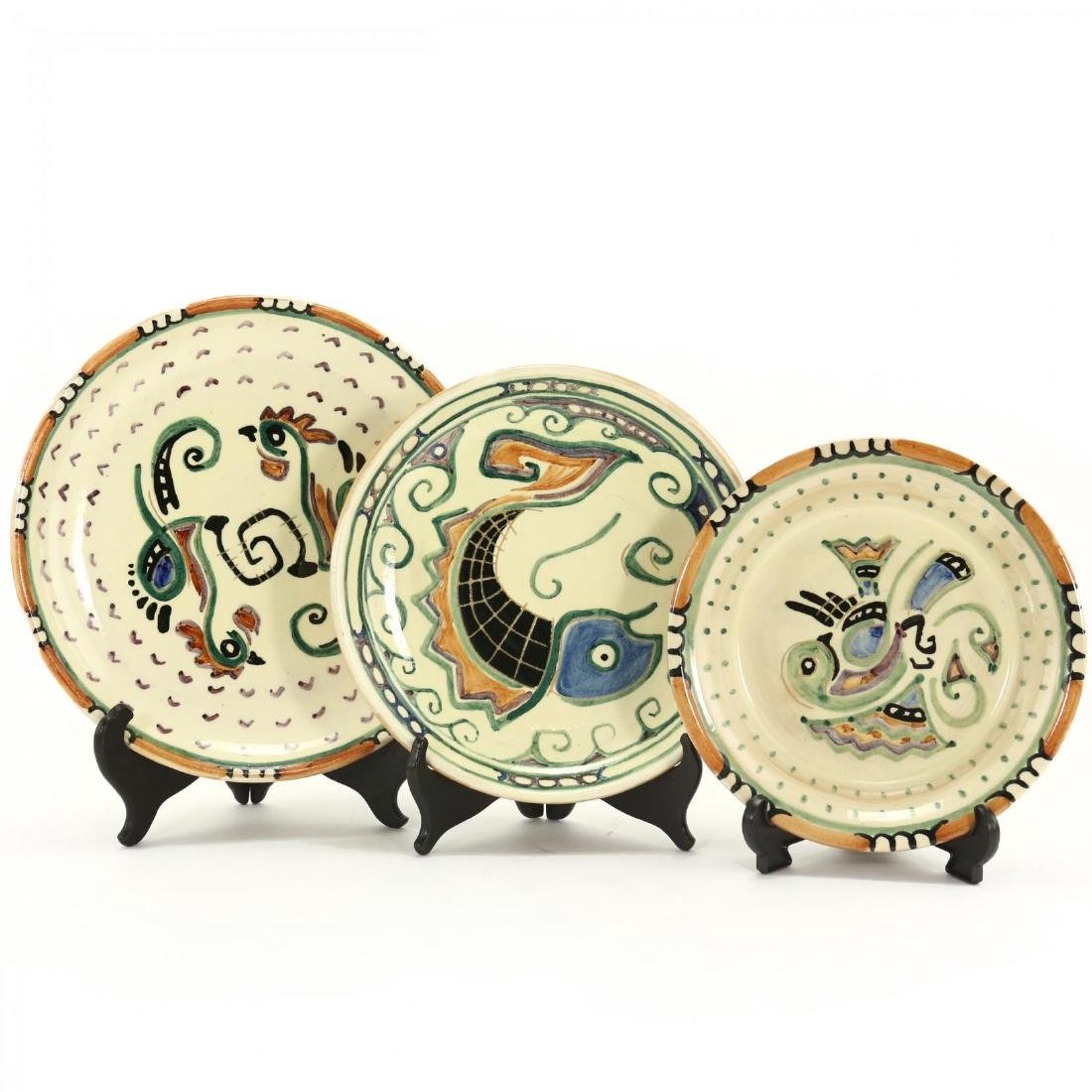 Three Shearwater Pottery Plates after Walter Inglis