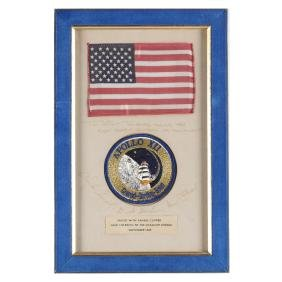 Apollo 12 Mission Flown American Flag and Patch on