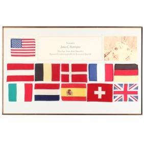An American Flag and Ten International Flags Flown on
