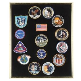 Framed Collection of Fifteen Patches Related to NASA's