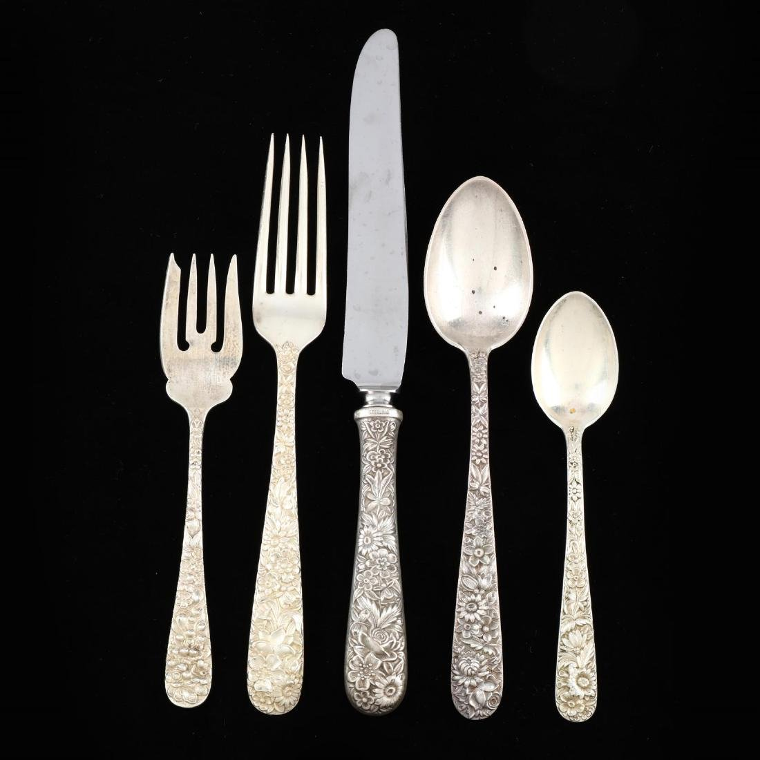 An Assembled Repoussé Sterling Silver Flatware Set