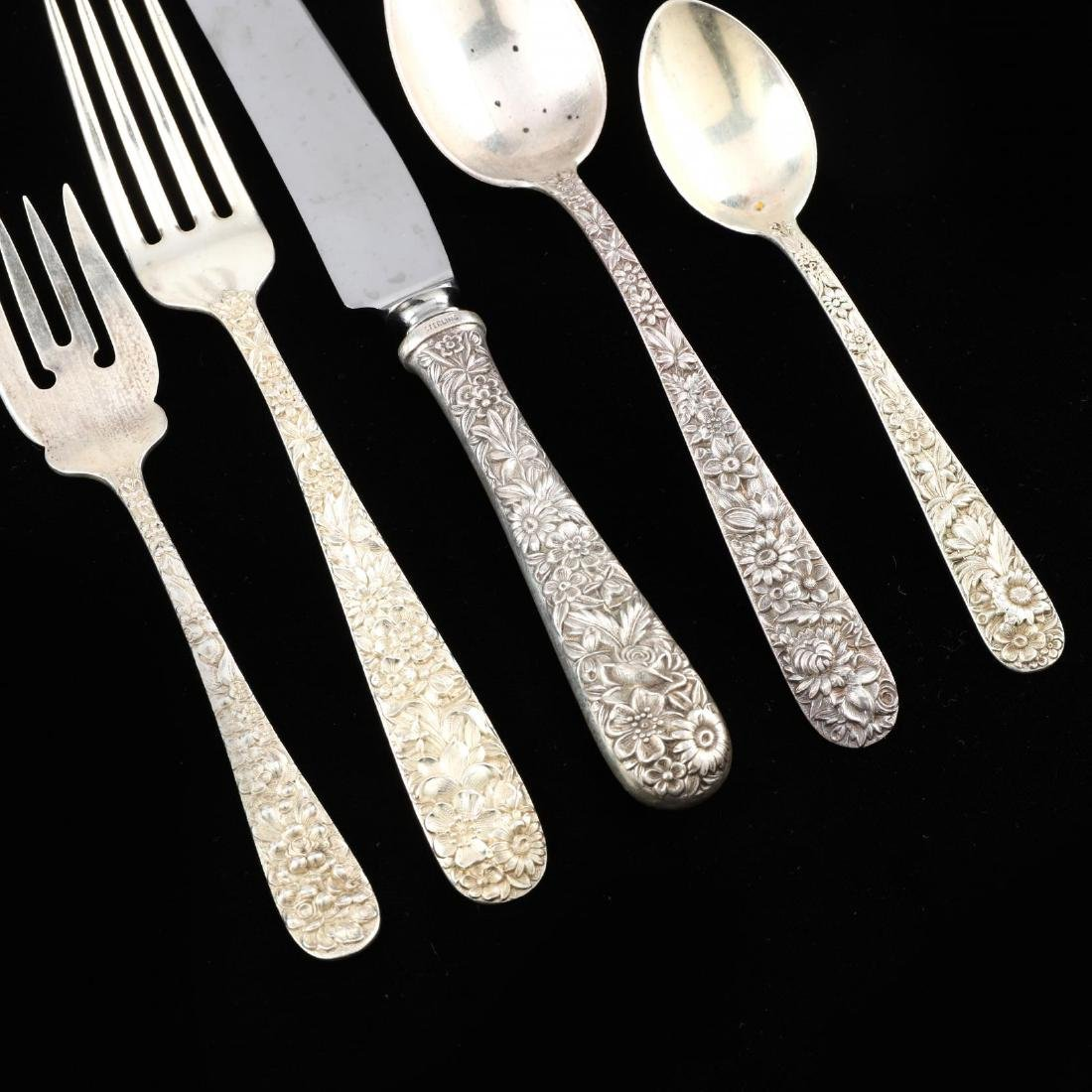 An Assembled Repoussé Sterling Silver Flatware Set - 2