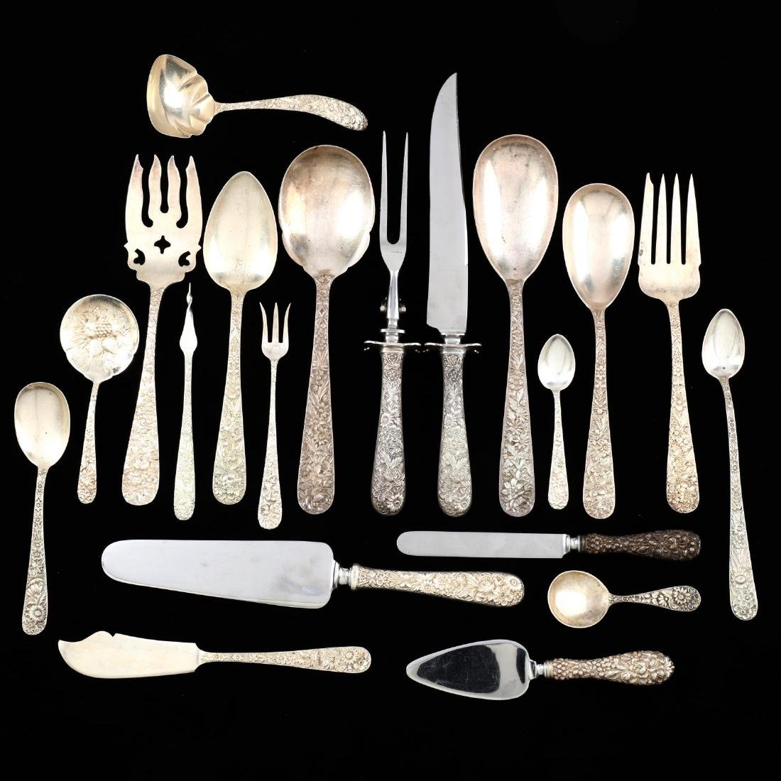 An Assembled Repoussé Sterling Silver Flatware Set - 4