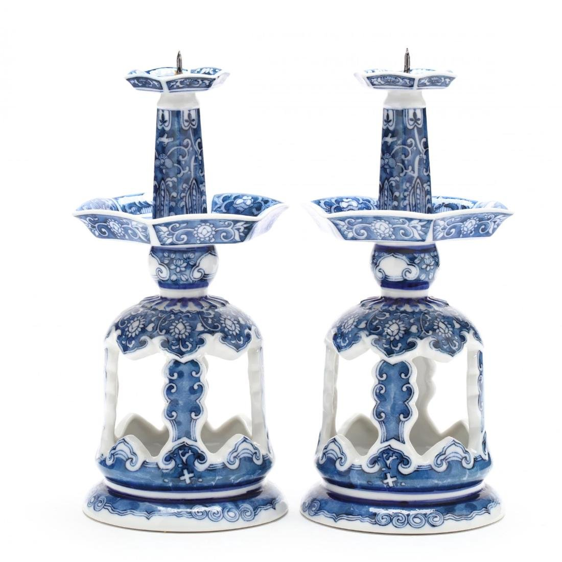 Pair of Chinese Export Porcelain Pricket Sticks