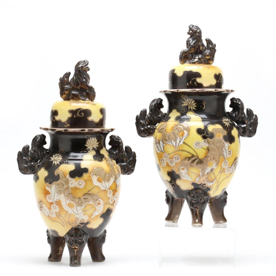 A Pair of Japanese Pottery Jars with Covers