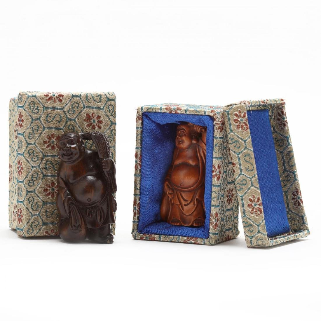 Two Carved Wooden Netsuke Figures