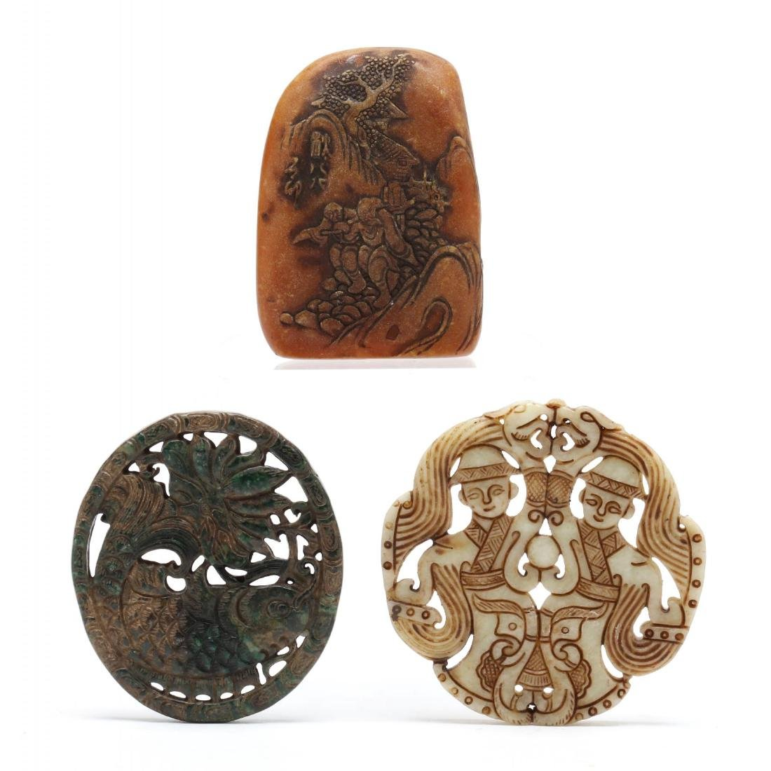 Three Asian Carved Hardstone Objects