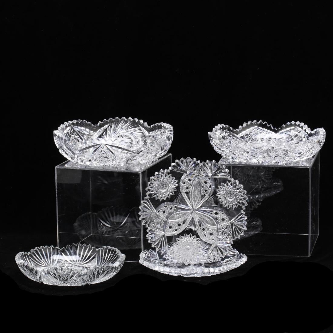 Five Pieces of American Brilliant Period Cut Glass