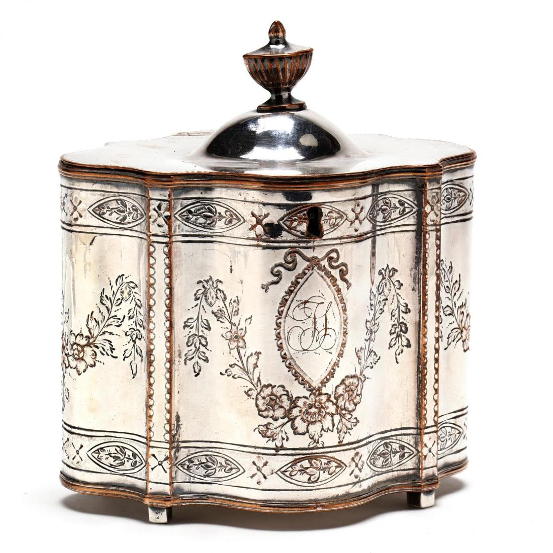 A George III Old Sheffield Plate Tea Caddy